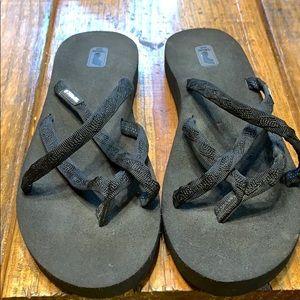 Teva Strappy Flip Flops 9 Black